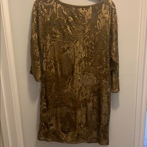 Trina Turk gold sequin dress